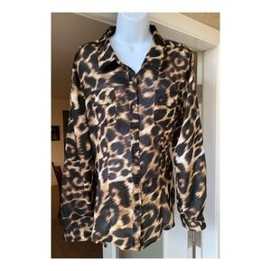 Calvin Klein Animal Print Blouse SZ L